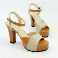 Jual wedges high heels hills coklat krem sepatu wanita murah Murah