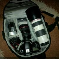 kamera CANON 60D + BATRE GRIP + LENSA 70-200MM sama 24-105MM + FLASH +
