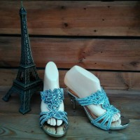 Sandal heels wanita Lovetta 5811-5 silver/hitam