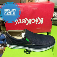 Jual Sepatu Pria kets casual slip on Kickers Biru Jeans Murah