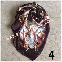 Jilbab Segi Empat Satin Hermes Motif Kupu Kerudung Hijab Bunga 03