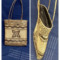 Jual Tas kulit rotan lapis kain poring asli dayak Kalimantan Murah