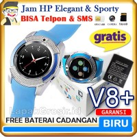 Smartwatch V8 BLUE Sporty - Jam Tangan HP Smart Watch V8 BIRU TERBAIK
