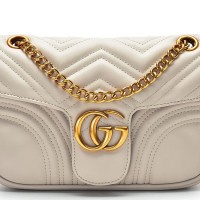 Tas Gucci Marmont GG Shoulder Small Matelasse Cream Kecil Selempang