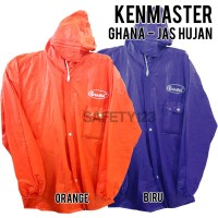 Kenmaster Ghana Jas Hujan Karet PVC Murah Bagus Kuat Orange Biru