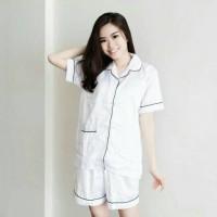 baju wanita PIYAMA SATIN WHITE TERBARU
