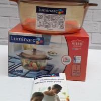 Luminarc Amber Vitro Casserole + Tutup 1 Liter - Panci Dutchoven Kaca