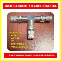Jack Cabang T Kabel Coaxial bisa untuk CCTV, ANTENA, TV, FIRST MEDIA