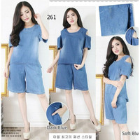 Set stelan Baju Celana Wanita Pundak Sabrina Jeans Import Big Size XL
