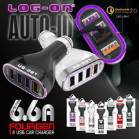 Charger mobil Log On 6.6a 4 port output usb fast charging saver car