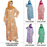 Jual Longdres Batik,  Daster Lengan Panjang, Baju Tidur, Kancing, LPT001-52 Murah