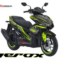 Decal stiker Aerox BLACK Carbon GreenLime Racing Edition +StikerVelg
