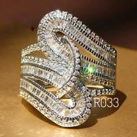 Cincin Diamond Cubic Zirconia Emerald Cut Micro Pave Platinum SIZE 6