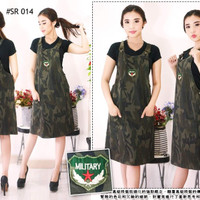 Baju Overall Jumpsuit Dress Rok Kodok SoftJeans Loreng Hijau Army Armi
