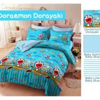 sprei & bed cover katun star ukuran 120x200 motif Doraemon Dorayaki