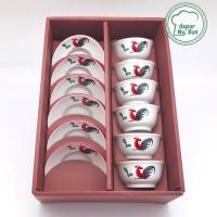 Premium Set Mangkok Mini dan Piring Mini Ayam Jago Seri 2
