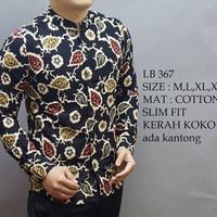 Harga kemeja batik pria slim fit baju batik koko lengan panjang | DEMO GRABTAG