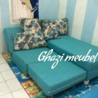 sofa L bed reclining tanpa tangan minimalis