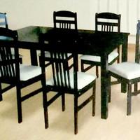 Anaya - Meja makan kayu 6 kursi jok busa + Kaca