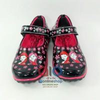 Sepatu Sekolah Anak Pantofel Kilap Perempuan Frozen Rekat Hitam Pink