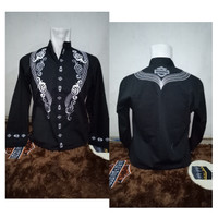 Baju Koko Harley Davidson Black Batik