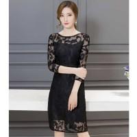 Dress brukat korea import black / gaun wanita hitam modis elegant