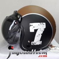 MVSTAR HELM RETRO Number 7 | Black Brown DOFF | OSBE CEMBUNG Mode BOGO