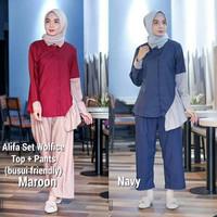 Baju kancing depan / Setelan pakaian kerja wanita : Alifa Set 2in1
