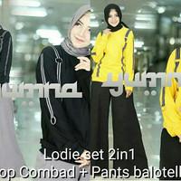 Kaos hitam / Celana kulot wanita / Setelan pakaian : Lodie set 2in1