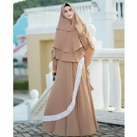 Gamis umroh / baju Hijab syari / Dress busui / khimar : Zavania Syari