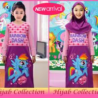GAMIS /HIJAB Anak Baju Muslim Anak Karakter Little Ponny Ungu