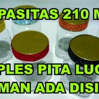 Jual Toples jar plastik 250ml selai jelly biskuit nastar dengan hiasan pita Murah