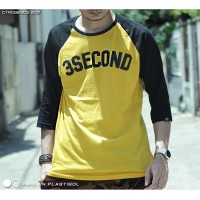 Raglan Kaos Distro Pria Three Second Super Premium Kuning Best Seller
