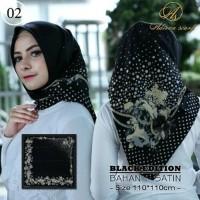 Jilbab segi empat elegant mewah warna hitam gold satin Murah