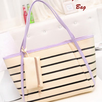 Harga fashion bag motif salur purple korean style di lengkapi dompet kecil | antitipu.com