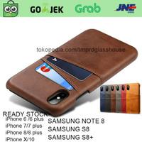Premium Card Slot Leather Case iPhone 6/6s/7/8 plus/X casing hp kulit