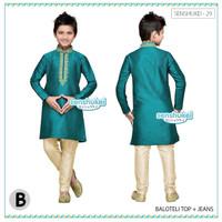 Senshukei 29B Kecil Baju Muslim Koko Anak Hijau Tosca Kostum India