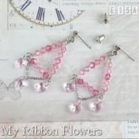 Anting Earring Swarovski Element Rose MyRibbonFlowers E15A