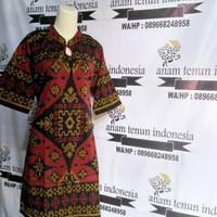 midi dress cassual ethnic batik wanita modern kain endek bali grinsing