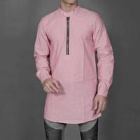 kurta zipper slimfit warna pink baju koko baju muslim