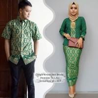 baju couple batik buat kondangan acara resepsi warna hijau BSG542