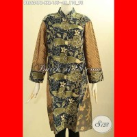 Baju Batik Dress Jumbo Modis Wanita Gemuk Lengan 7/8 Size XXL DR8624PB