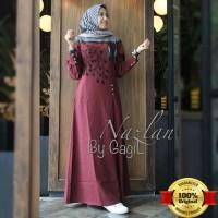 Jual Baju Dress Long Dress Muslim Maxi Dress Gamis Murah Nazlan Maroon Dres Murah
