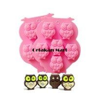 Cetakan Silikon Sabun Owl 6 cavity