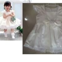 Gaun pesta anak warna putih rok pendek