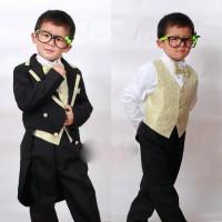 Jas anak laki tuxedo hitam gold , celana, rompi, dasi, ikat pinggang