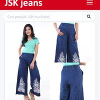 Celana Jeans Kulot Panjang Sablon Bunga Biru JSK 8205