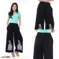 Celana Jeans Kulot Panjang Sablon Bunga Hitam JSK 8206