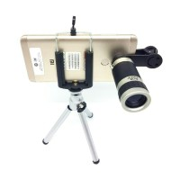Lensa TeleZoom HP 8x Universal Clip Jepit dan Tripod Mini
