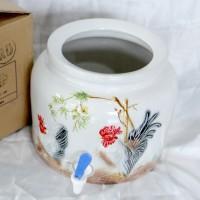 Guci Air / Galon Keramik Motif Emboss / Water Dispenser